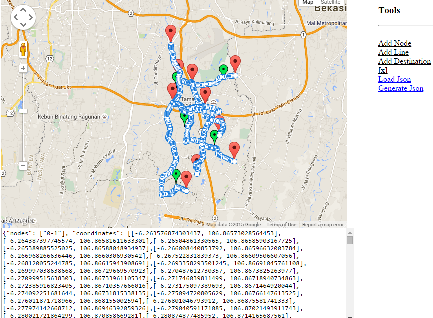generate json from google maps v3