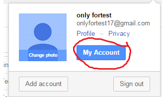 my account gmail localhost
