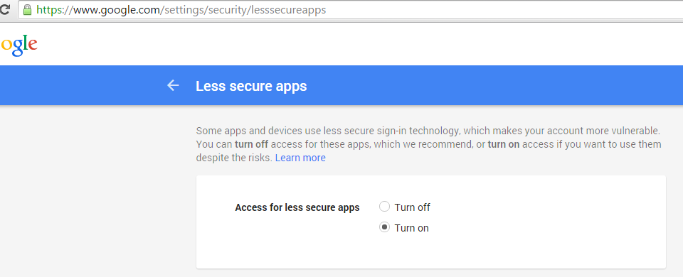 turn on less secure apps gmail