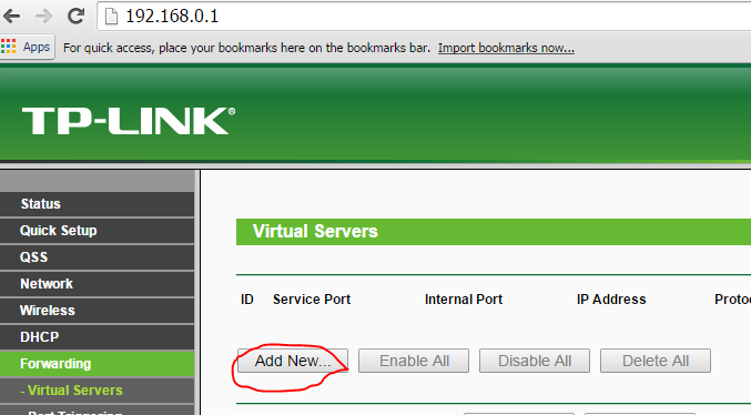 add new forwarding virtual server