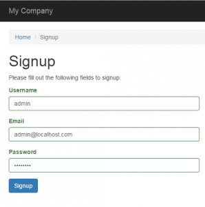 signup yii 2 advanced template
